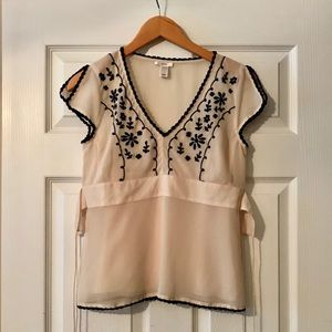 Old Navy Tops - Cream and Black Blouse